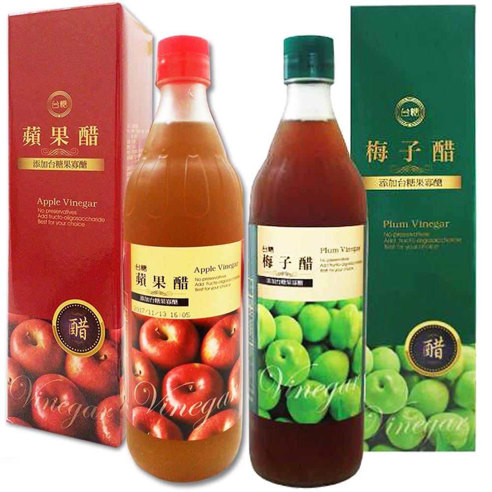 台糖 梅子醋3瓶+蘋果醋3瓶組(添加果寡醣;600ml/瓶)