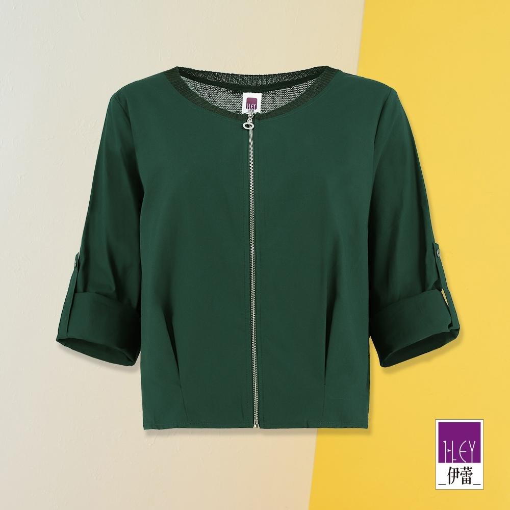 ILEY伊蕾 百搭短版棉麻拼接外套(綠)