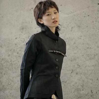 設計所在Style-拼接割毛邊修身氣質中山裝夾克外套