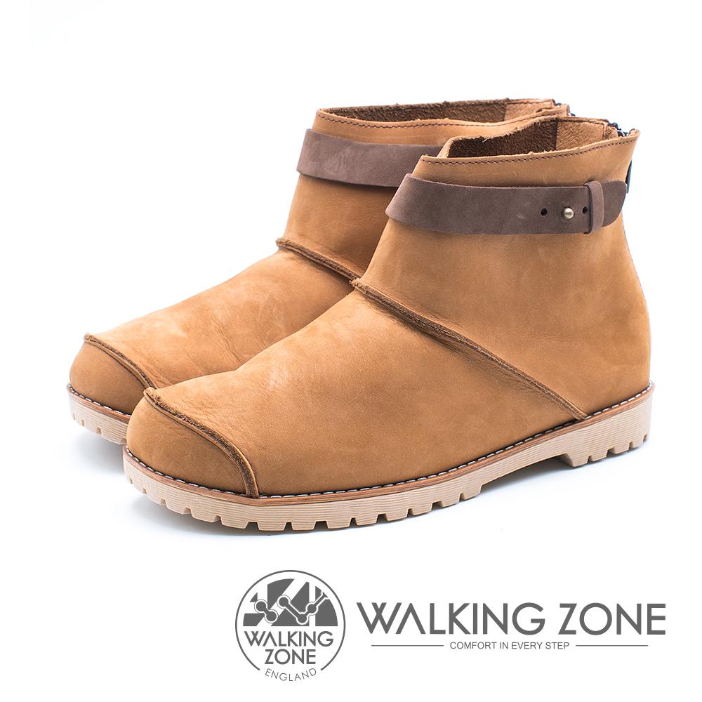 WALKING ZONE 皮革車縫拉鍊短靴 女鞋 - 黃棕 (另有藍、紅)