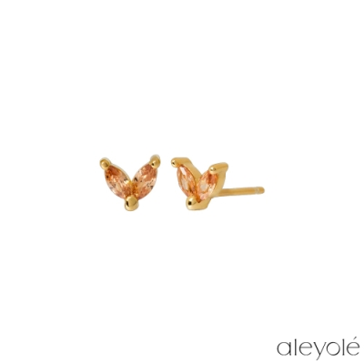 ALEYOLE 蜜桃橘花瓣925純銀鍍18K金耳釘 SANDY ZINNIA GOLD