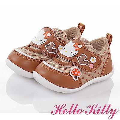 HelloKitty 森林系列 輕量透氣抗菌減壓寶寶學步童鞋-咖啡