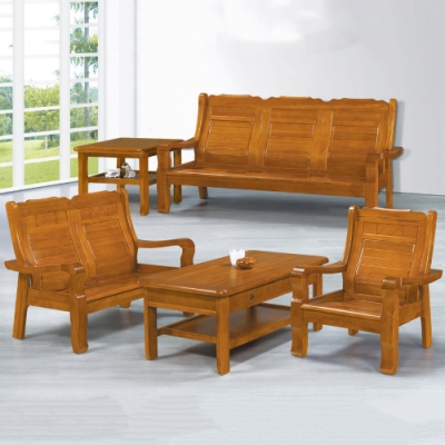 MUNA 663型柚木色實木組椅(全組)(附坐墊)  190X73X100cm