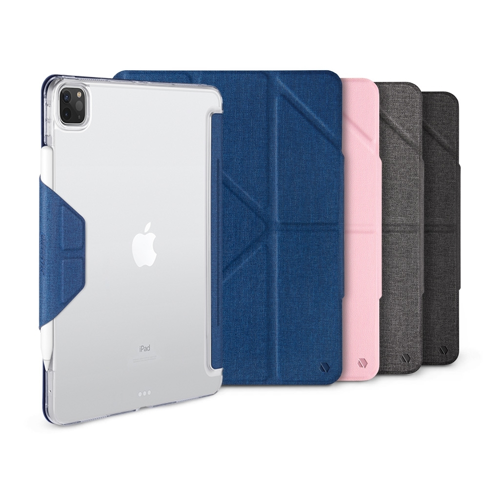 JTL iPad Pro 2020 Amos 12.9吋 相機快取多角度折疊布紋皮套(磁扣版-無筆槽)