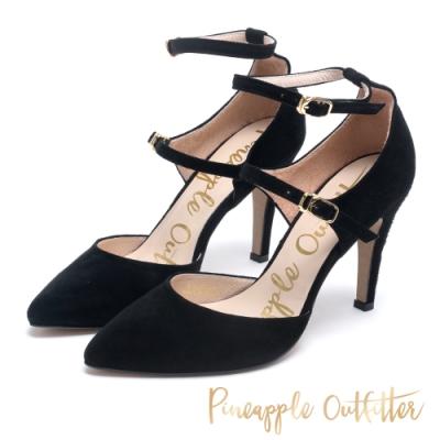 Pineapple Outfitter 約會首選 雙繫帶皮革高跟鞋-絨黑