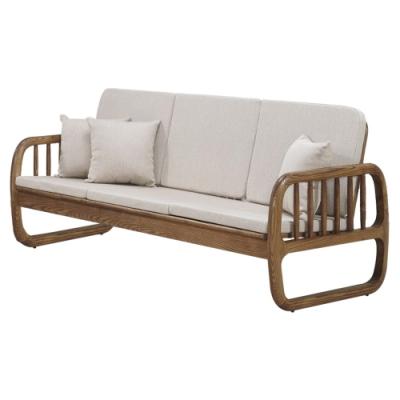 文創集 芬亞典雅曲木亞麻布實木三人座沙發椅-190x81x88cm免組