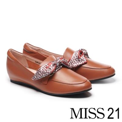 低跟鞋 MISS 21 經典印花緞布全真皮樂福內增高低跟鞋-咖