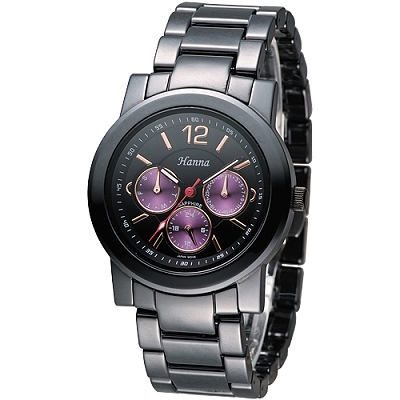 Hanna 巴黎時尚全日曆黑陶瓷腕錶-紫紅小錶盤(H6941G-VX3J-2)/38mm