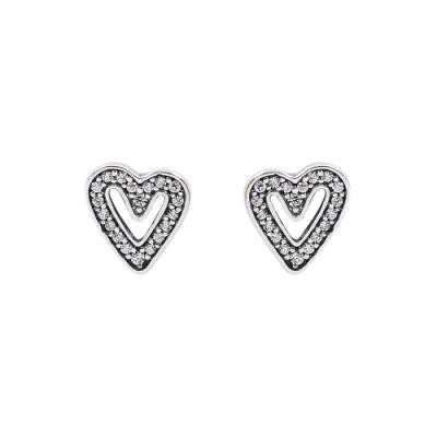 Pandora 潘朵拉 閃耀鑲鋯手繪愛心 純銀耳環