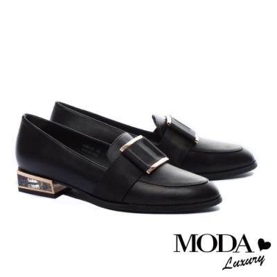 跟鞋 MODA Luxury 英倫風大織帶釦飾造型樂福低跟鞋-黑