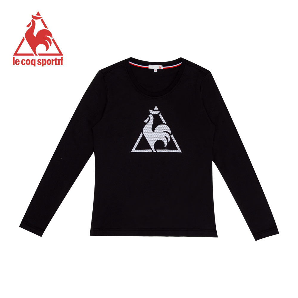 le coq sportif 法國公雞牌經典LOGO印花圓領長袖T恤 女-黑