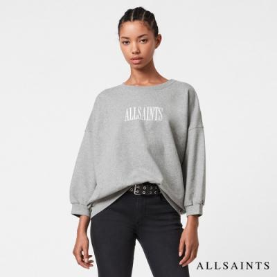 ALLSAINTS STAMP 個性休閒LOGO刺繡柔軟純綿七分袖衛衣上衣-灰