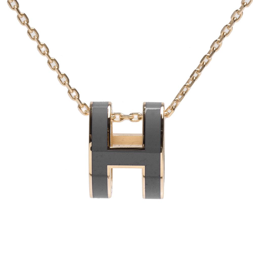 HERMES 經典Pop H立體簍空橢圓LOGO項鍊(金X暗灰)