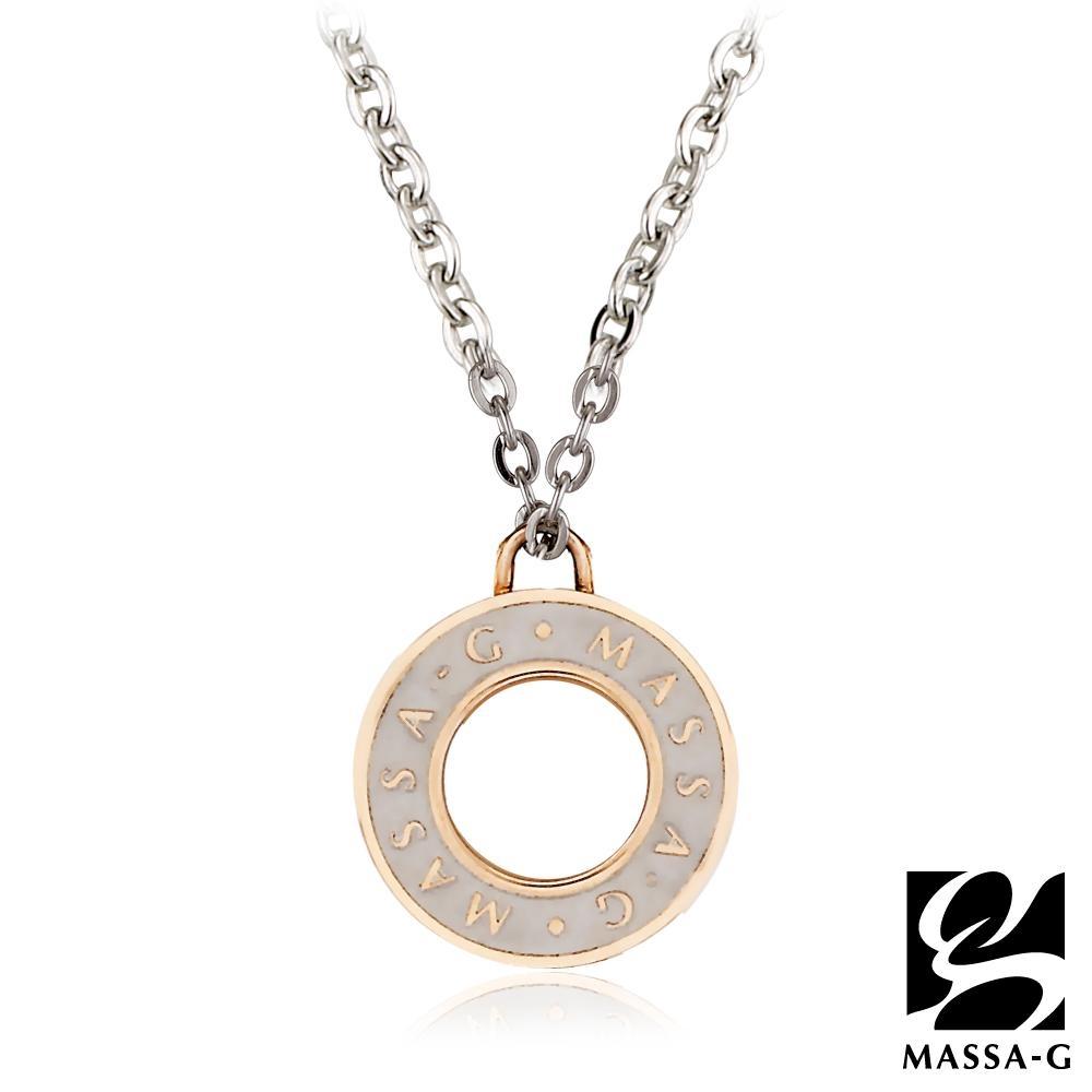 MASSA-G 【玫瑰魅力】金屬鍺錠白鋼項鍊