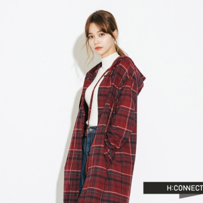 H:CONNECT 韓國品牌 女裝-休閒連帽長版格紋襯衫-紅