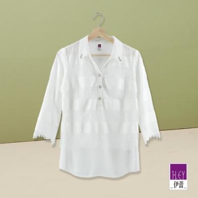 ILEY伊蕾 都會感蕾絲雪紡拼接襯衫(白)
