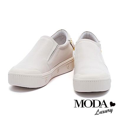 休閒鞋 MODA Luxury 摩登獨特鉚釘流蘇造型厚底休閒鞋-白