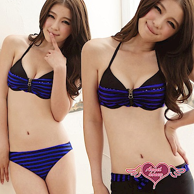 泳衣 輕夏落日 鋼圈三件式比基尼泳裝(藍紫L.XL) AngelHoney天使霓裳