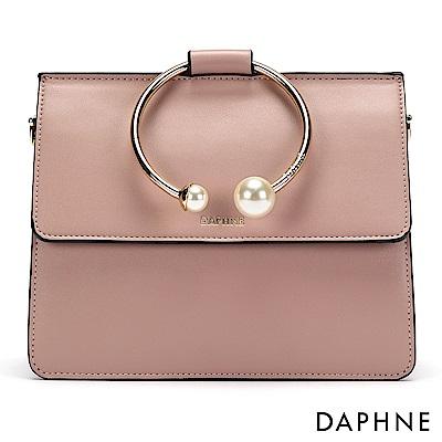 達芙妮DAPHNE-珍珠環形手把手提側肩包-淺粉