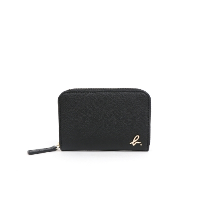 agnes b. Voyage經典款 b logo防刮牛皮零錢包  (黑)