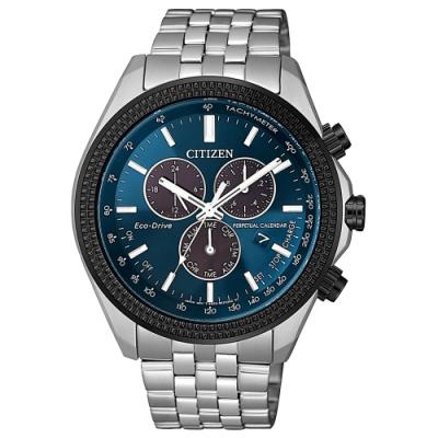 CITIZEN GENT'S 光動能紳士時尚三眼腕錶-銀X藍(BL5568-54L)