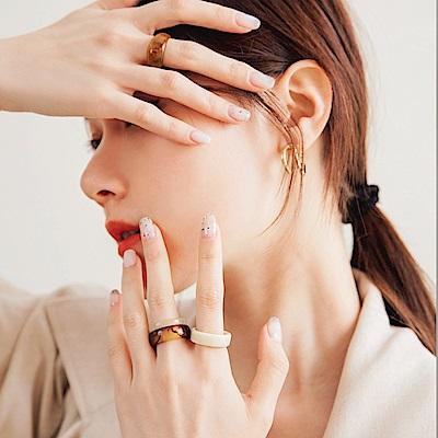 琥珀暈染壓克力戒指四件組-OB大尺碼