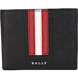 BALLY TEVYE 經典紅白條紋黑色六卡對折短夾