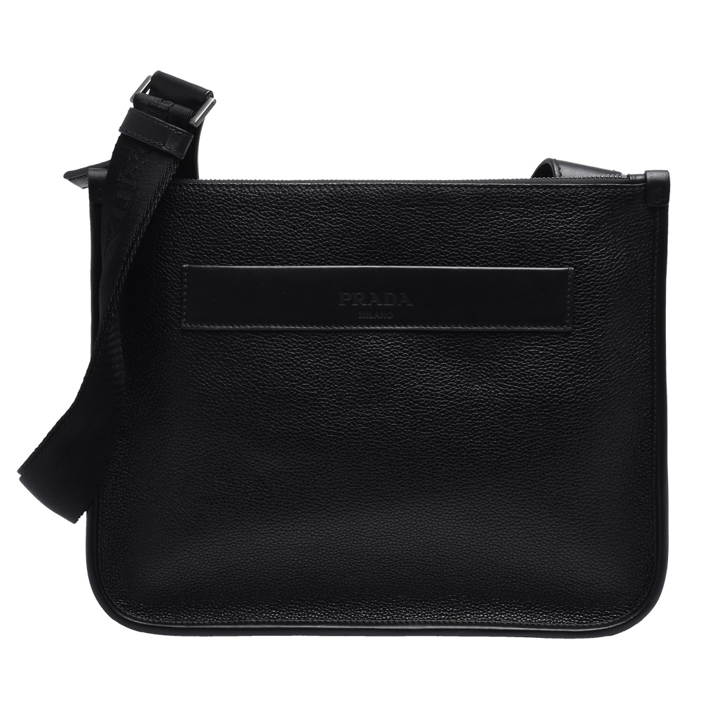 PRADA 經典品牌LOGO烙印牛皮方形斜背包(黑) @ Y!購物