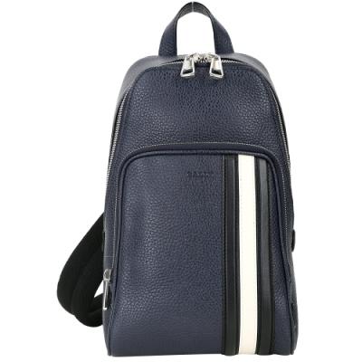 BALLY Colimar 經典條紋荔紋牛皮單肩背包(深藍色)