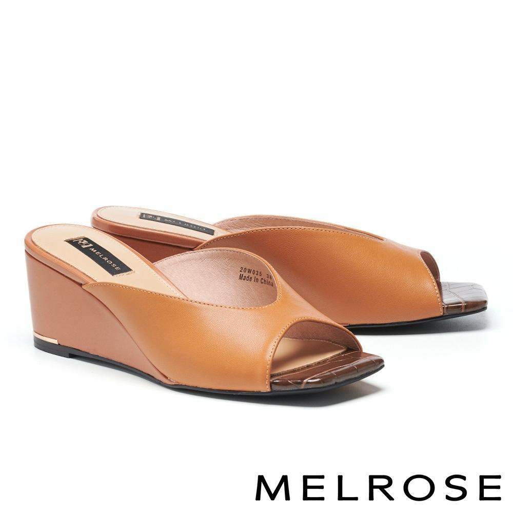 拖鞋 MELROSE 簡約率性撞色羊皮方頭楔型拖鞋-棕