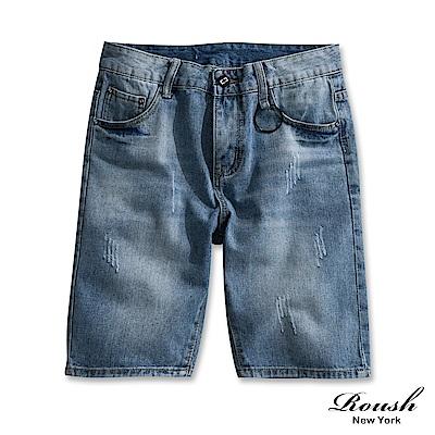 Roush 黑色扣環水洗刷色牛仔短褲