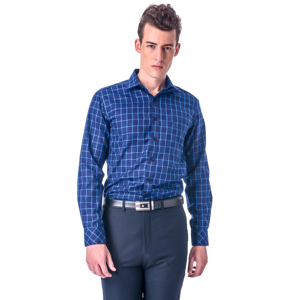 金‧安德森 藍色大方格保暖窄版長袖襯衫
