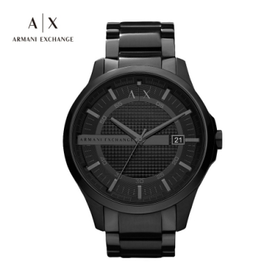A|X ARMANI EXCHANGE HAMPTON 漢普頓菁英黑色鍊帶男錶 46mm(AX2104)