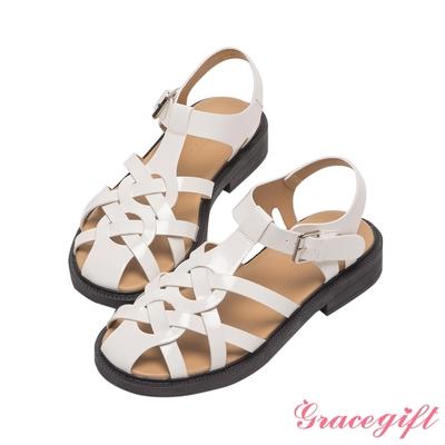 Grace gift-縷空編織厚底涼鞋 米白