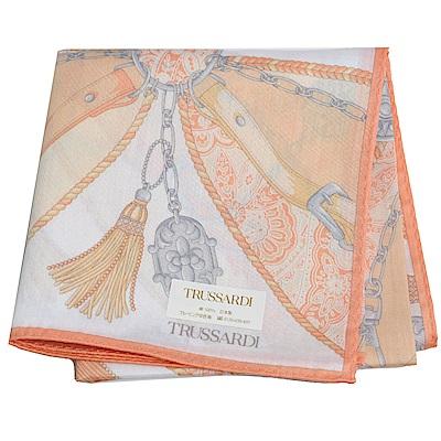 TRUSSARDI 優雅品牌皮穿鍊流蘇圖騰LOGO大帕領巾(橘/灰色系)