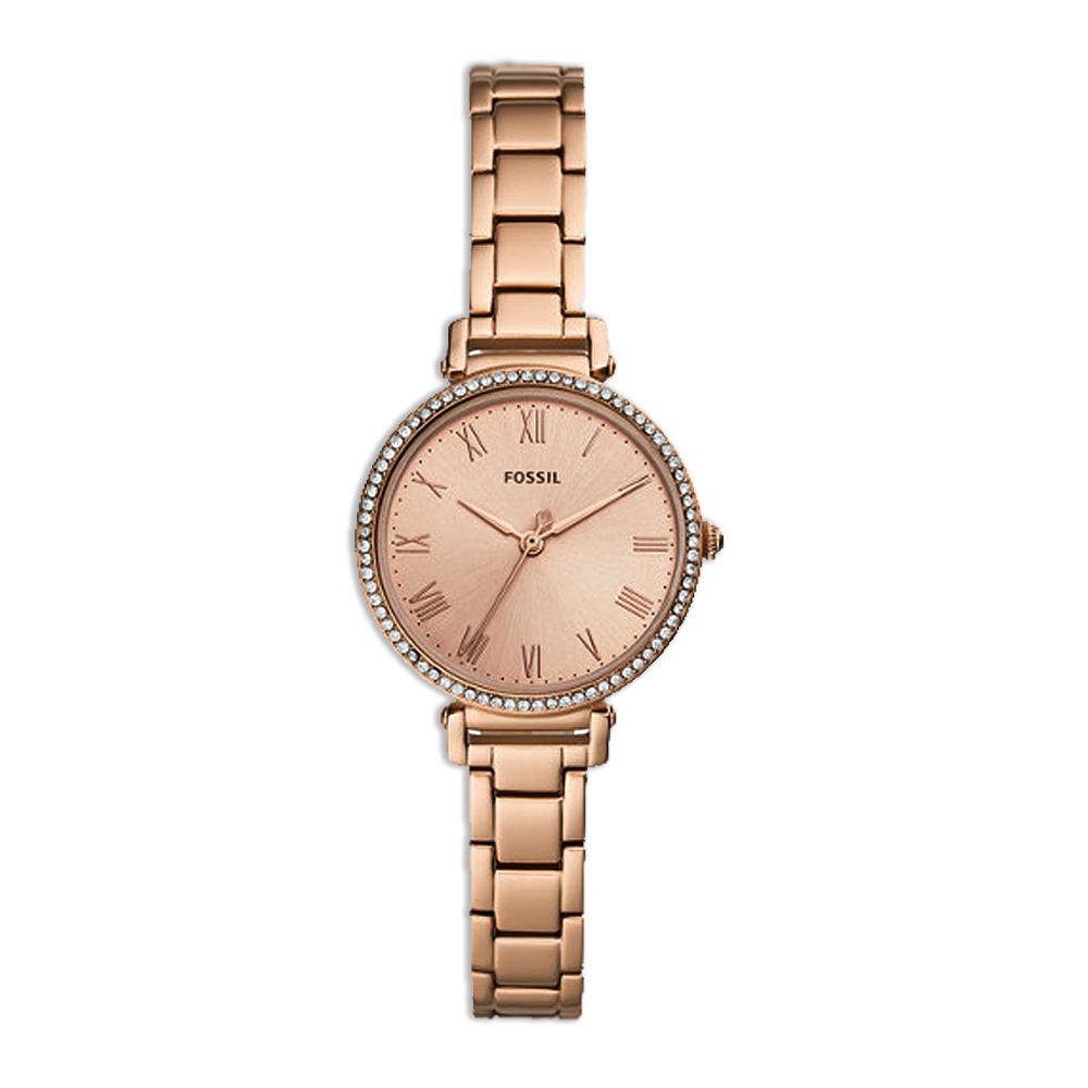 FOSSIL  閃耀羅馬晶緻珠圈腕錶-玫瑰金-ES4447/28mm