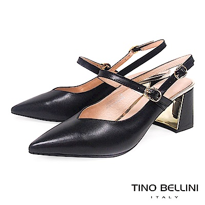 Tino Bellini 深V鞋楦雙繫帶真皮尖頭跟鞋 _ 黑