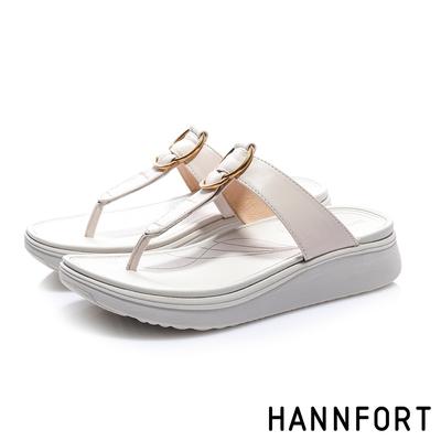 HANNFORT Ultra Comf 4D 羊皮五金厚底拖鞋 女 米