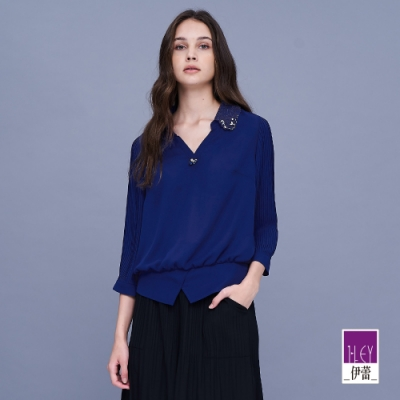 ILEY伊蕾 亮麗細摺不易皺雪紡襯衫(藍)