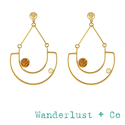 Wanderlust+Co 澳洲品牌 琥珀色編織海洋度假耳環 金色大耳環 LANAI