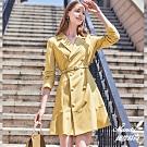 Mandy國際時尚 西裝外套 秋 翻領雙排扣繫帶收腰風衣外套