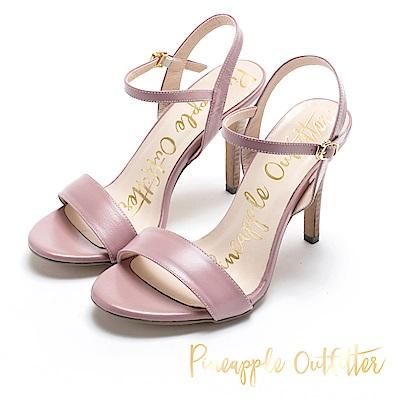 Pineapple Outfitter 氣質可人 牛皮一字細高跟涼鞋-粉色