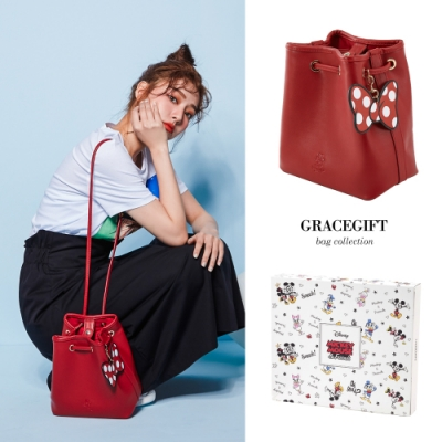 Disney collection by Grace gift米妮皮片抽繩造型水桶包