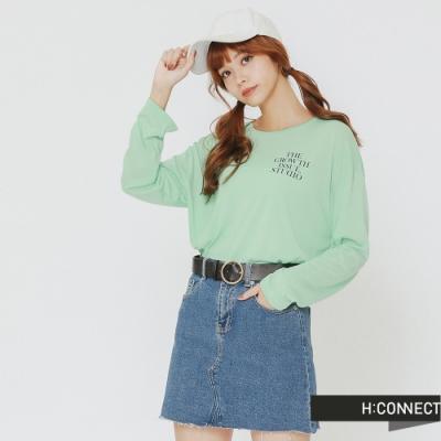 H:CONNECT 韓國品牌 女裝-質感文字側開長袖上衣-綠(快)