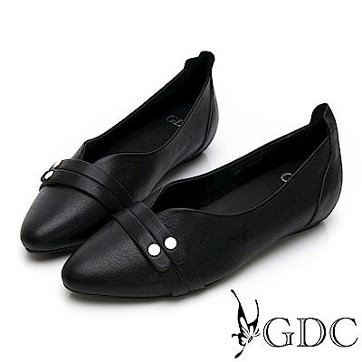 GDC-尖頭素面歐美質感小圓釦上班V型剪裁平底包鞋-黑色