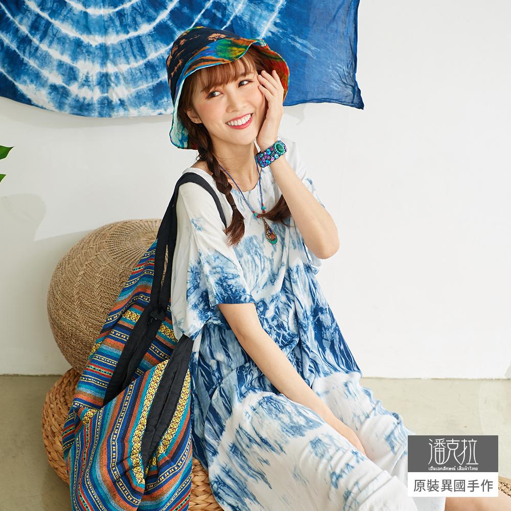 潘克拉 藍染寬鬆嫘縈連身裙-藍色