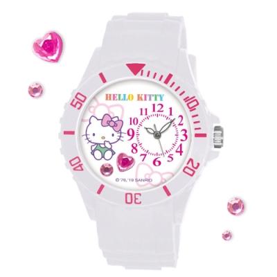 Sanrio三麗鷗偏機芯貼鑽系列運動彩帶錶-Hello Kitty純真凱蒂貓40mm白色