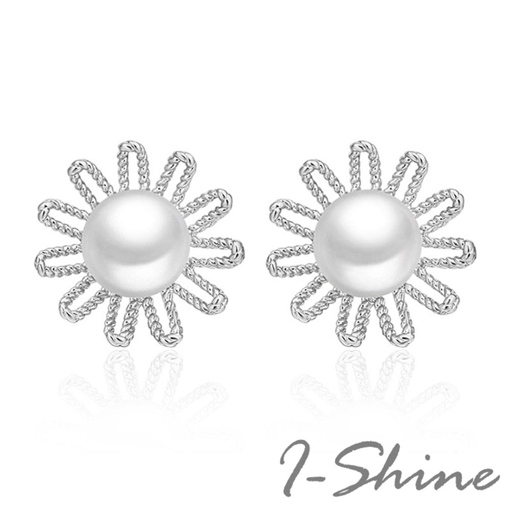 I-Shine-正白K-花朵雛菊-韓國田園風淡水珍珠花朵造型銀色耳針耳環DB45