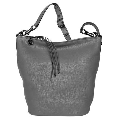 COACH灰色鉚釘花飾荔枝紋全皮斜背大款水桶包