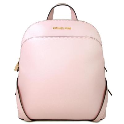 MICHAEL KORS Emmy 金字Logo全皮革雙肩貝殼款後背包(櫻花粉色)